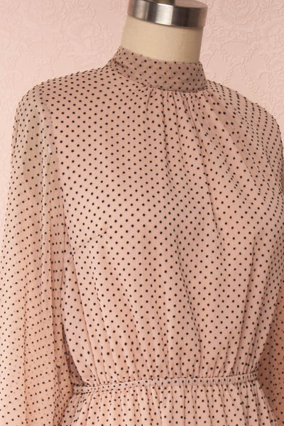 Yseult Light Pink Long Sleeved Maxi Dress | La petite garçonne side close up