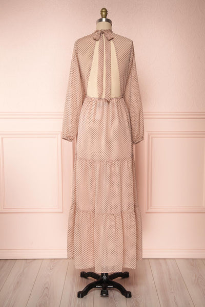 Yseult Light Pink Long Sleeved Maxi Dress | La petite garçonne back view
