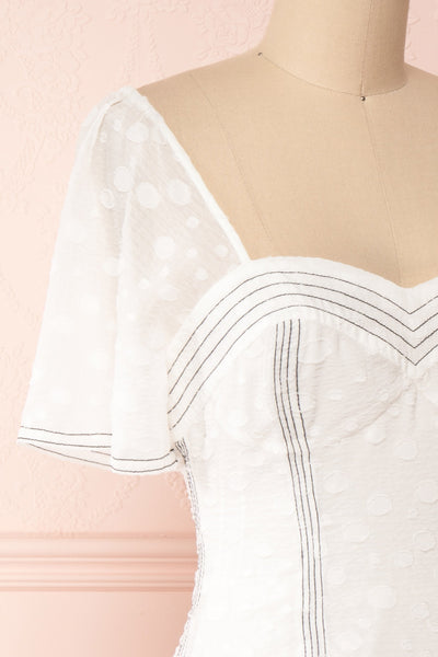 Ysoldine White Flared Cocktail Dress | Boutique 1861  side close-up