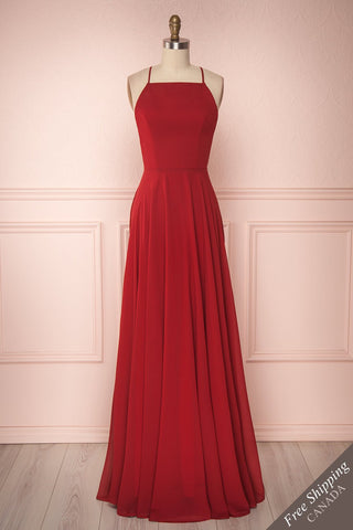 Zaika Garnet Red Chiffon A-Line Gown | Boutique 1861