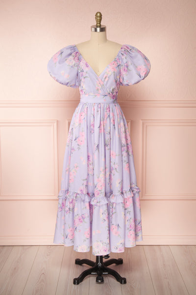 Zandria Lilac Floral Puffy Sleeve Midi Dress | Boutique 1861