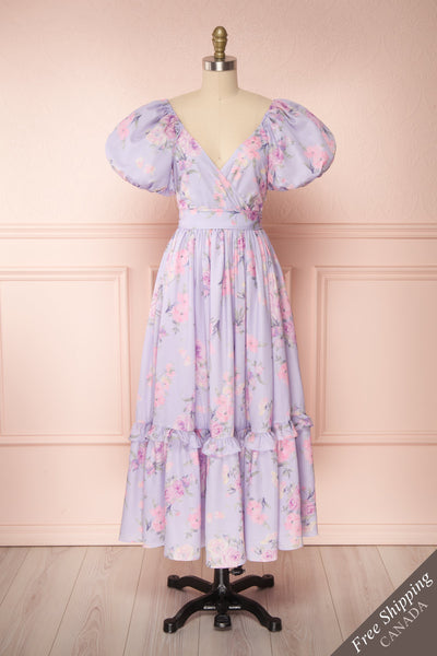 Zandria Lilac Floral Puffy Sleeve Midi Dress | Boutique 1861 front view FS