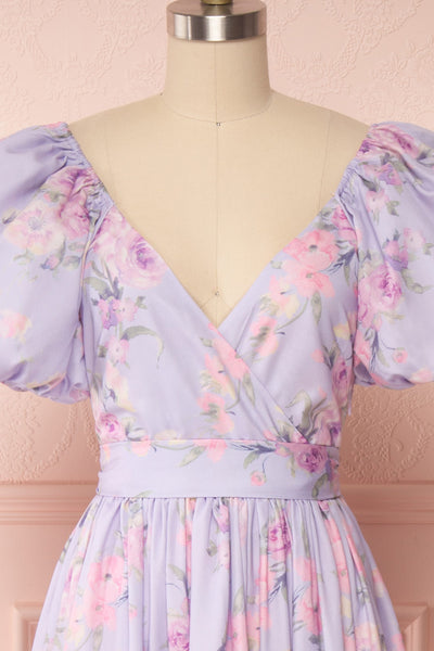 Zandria Lilac Floral Puffy Sleeve Midi Dress | Boutique 1861 front close up