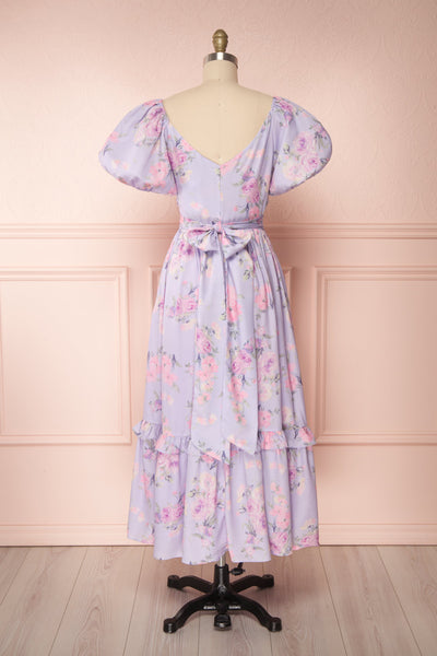Zandria Lilac Floral Puffy Sleeve Midi Dress | Boutique 1861 back view