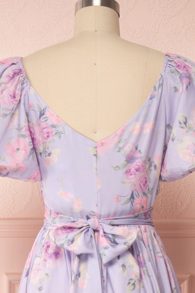 Zandria Lilac Floral Puffy Sleeve Midi Dress | Boutique 1861 back close up
