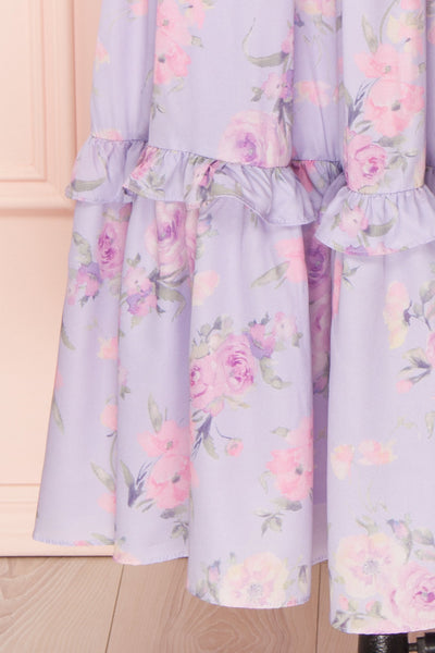 Zandria Lilac Floral Puffy Sleeve Midi Dress | Boutique 1861 skirt