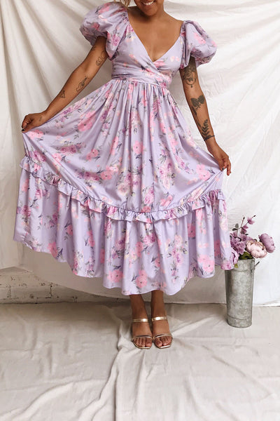 Zandria Lilac Floral Puffy Sleeve Maxi Dress | Boutique 1861 model look 2