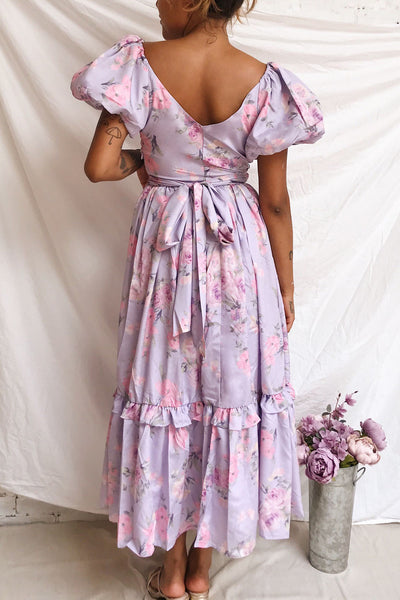Zandria Lilac Floral Puffy Sleeve Maxi Dress | Boutique 1861 model back