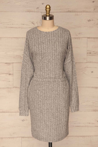 Zaragoza Sweater Dress | Robe Grise | La Petite Garçonne front view