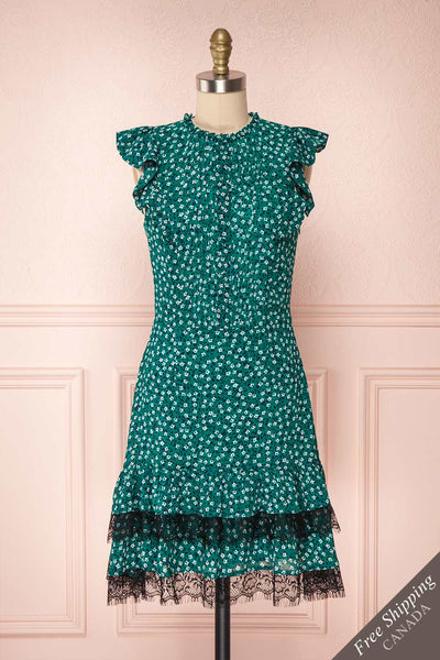 Zarate Green Floral Ruffled Cocktail Dress with Lace | Boutique 1861