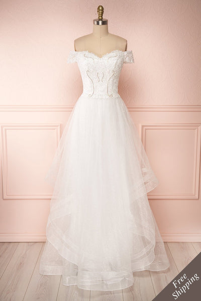 Zaristelle White A-Line Bridal Dress front view | Robe | Boudoir 1861