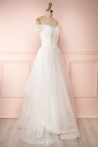 Zaristelle White A-Line Bridal Dress | Robe side view | Boudoir 1861