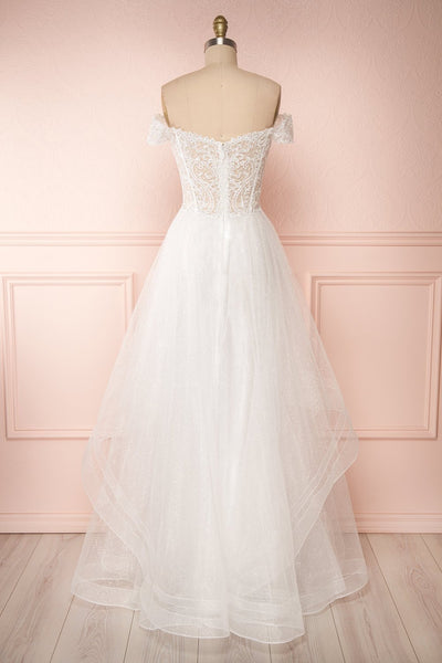 Zaristelle White A-Line Bridal Dress | Robe back view | Boudoir 1861