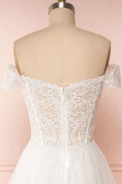 Zaristelle White A-Line Bridal Dress | Robe back close up | Boudoir 1861