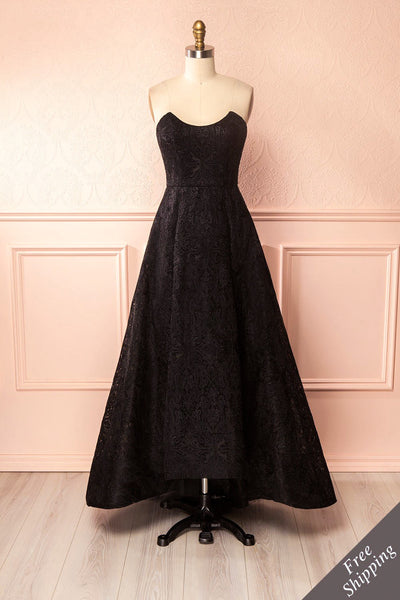 Zélie Noir - Black Embroidered Tulle Dress | Boutique 1861