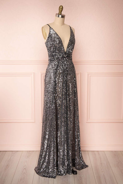 Zenobia Black Sequin Maxi Dress side view | Boutique 1861