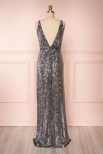 Zenobia Black Sequin Maxi Dress back view | Boutique 1861