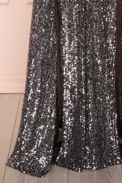 Zenobia Black Sequin Maxi Dress skirt | Boutique 1861