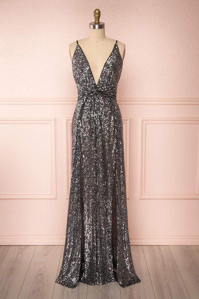 Zenobia Black Sequin Maxi Dress | Boutique 1861