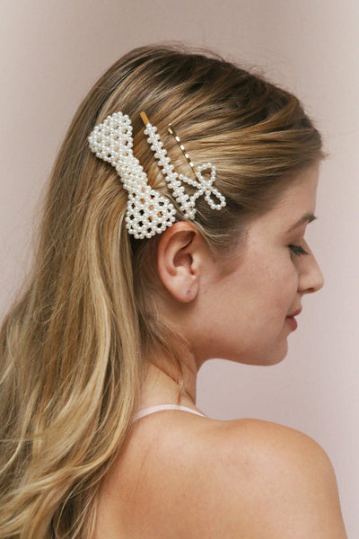 Zephyrine Set of Silver Pearl Studded Barrettes | Boudoir 1861 on blond model