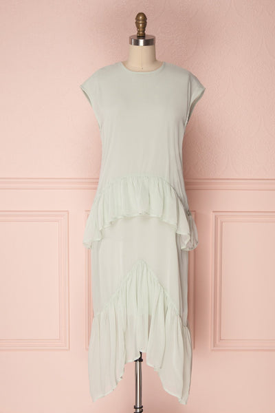 Zilin Mint Green Straight Chiffon Midi Dress | Boutique 1861