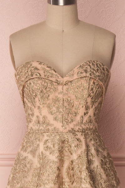 Ziya Gold | Embroidered Bustier Dress