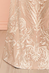 Zohra Beige Embroidered Bustier Mermaid Gown | Boudoir 1861
