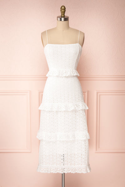 Zorita White Midi Summer Dress | Robe d'Été | Boutique 1861 front view