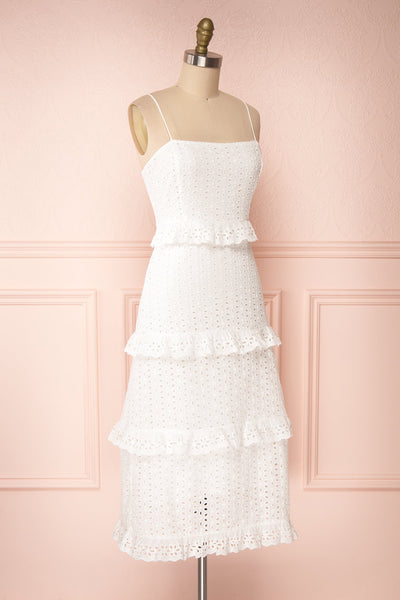 Zorita White Midi Summer Dress | Robe d'Été | Boutique 1861 side view