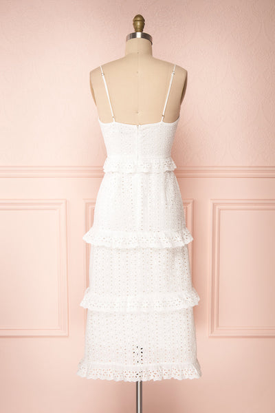Zorita White Midi Summer Dress | Robe d'Été | Boutique 1861 back view