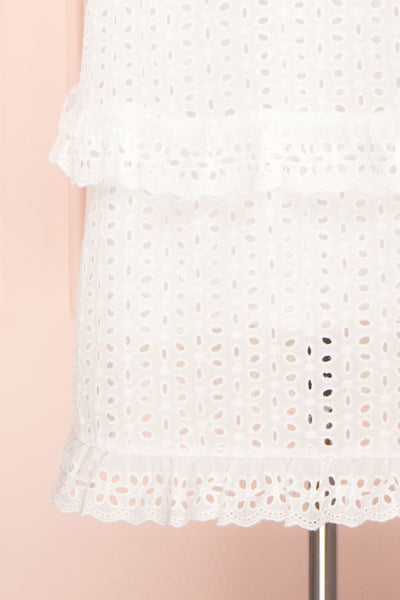 Zorita White Midi Summer Dress | Robe d'Été | Boutique 1861 bottom close-up