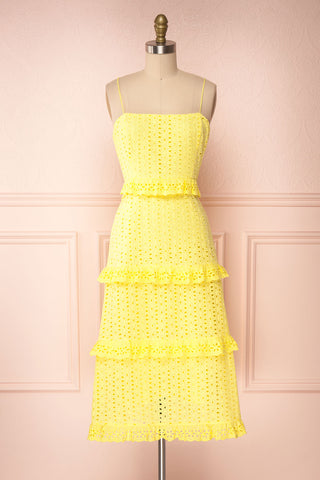 Zorita Yellow Midi Summer Dress | Boutique 1861 front view