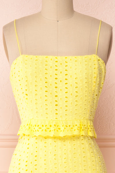 Zorita Yellow Midi Summer Dress | Boutique 1861 front close-up
