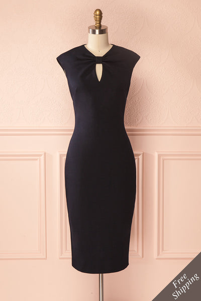 Zulema Navy Fitted Sleeveless Midi Dress | Boutique 1861