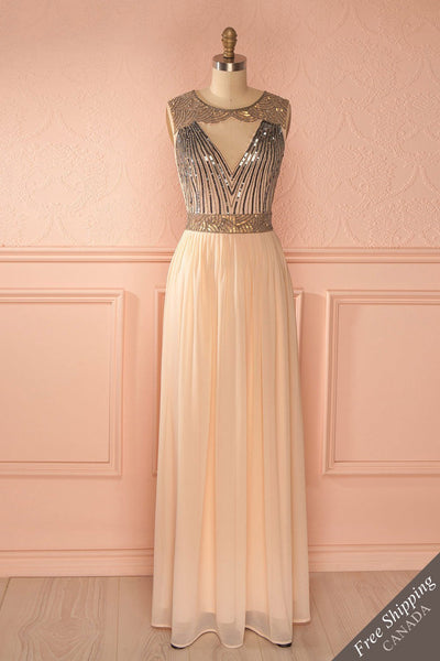 Zuzana - Blush gown with gold and silver sequins