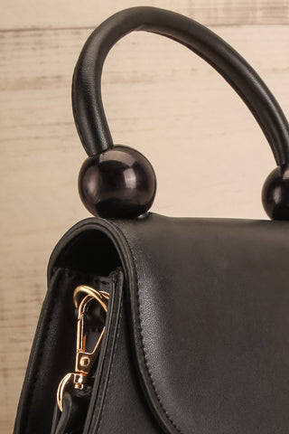 Aarhus Black Faux-Leather Handbag side close-up | Boutique 1861