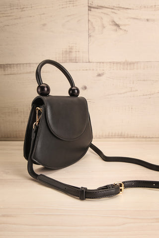Aarhus Black Faux-Leather Handbag side view | Boutique 1861