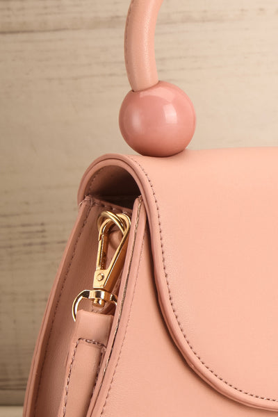Aarhus Pink Faux-Leather Handbag side close-up | Boutique 1861