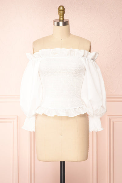Aaroma White Puffy Sleeve Ruched Top | Boutique 1861 front view