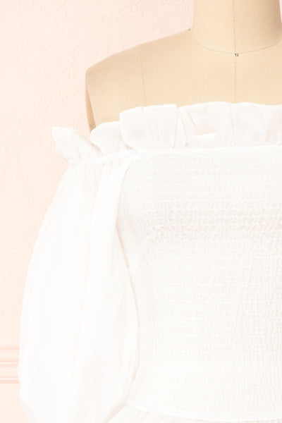 Aaroma White Puffy Sleeve Ruched Top | Boutique 1861 front close-up