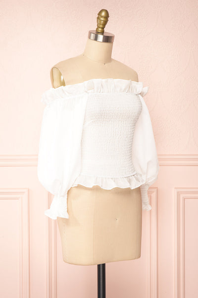 Aaroma White Puffy Sleeve Ruched Top | Boutique 1861 side view