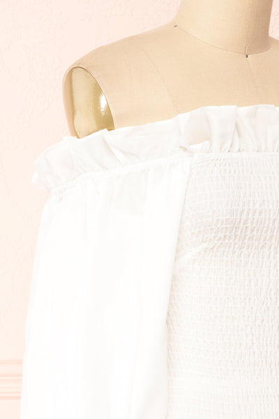 Aaroma White Puffy Sleeve Ruched Top | Boutique 1861 side close-up