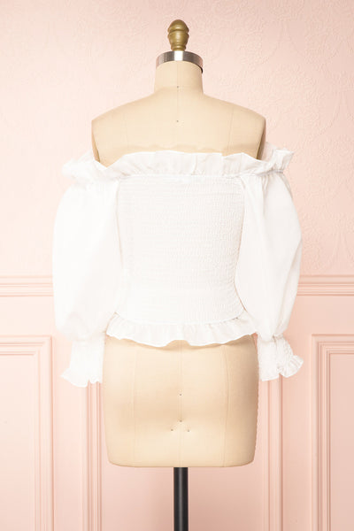 Aaroma White Puffy Sleeve Ruched Top | Boutique 1861 back view