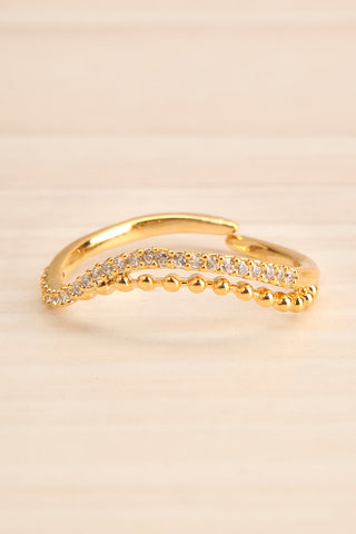 Abaces Or Golden Crystal-Studded Open Ring close-up | La Petite Garçonne