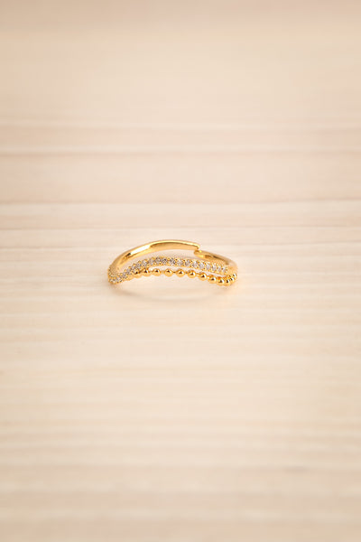 Abaces Or Golden Crystal-Studded Open Ring | La Petite Garçonne