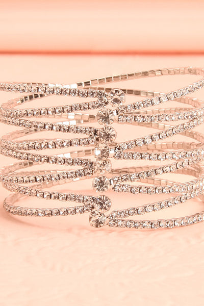Abacinus Clear Crystals Silver Bangle Bracelet | Boudoir 1861 3