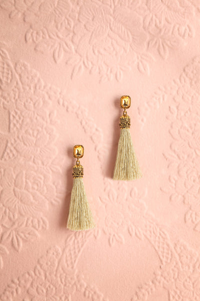 Abaris Matcha Crystal & Sage Tassel Pendant Earrings | Boutique 1861