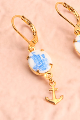Abby Muirol Blue Nautical Pendant Earrings close-up | Boutique 1861