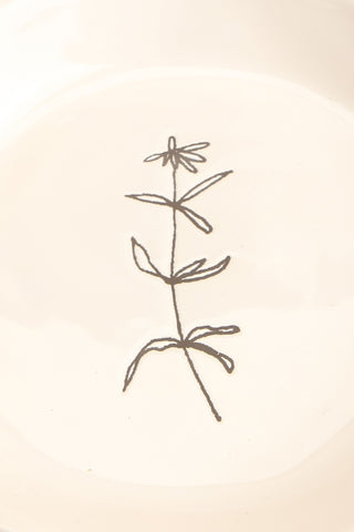 Aberdare White Ceramic Plate with Flower drawing close-up | La Petite Garçonne Chpt. 2