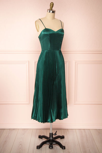 Abetyn Emerald Silky Pleated Midi Dress | Boutique 1861 side view